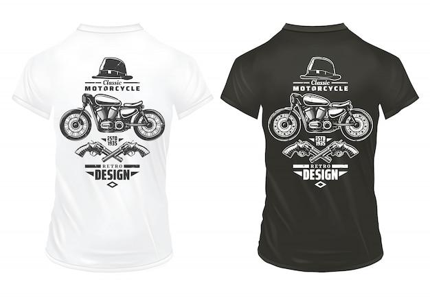 Vintage retro print ontwerpsjabloon met inscripties klassieke motorfiets gentleman hat gekruiste pistolen op shirts geïsoleerd Gratis Vector