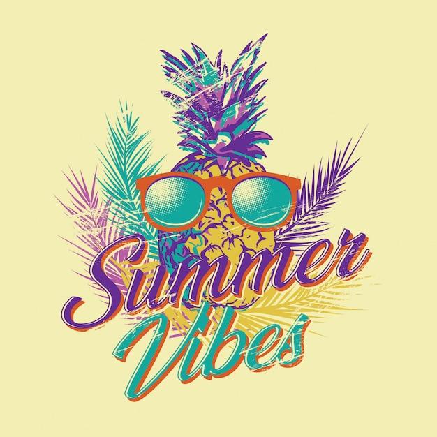 Vintage retro vector illustratie van de zomer vibes Premium Vector