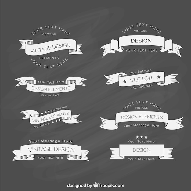 Vintage ribbon template collection Premium Vector