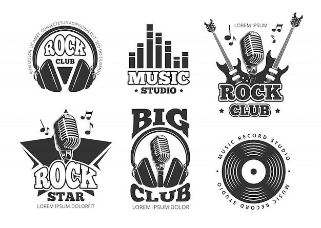 Vintage rock en roll muziek vector labels, emblemen, insignes, sticker met gitaar en spreker silhouetten. rock muziek embleem, retro vintage rock en roll label illustratie Premium Vector