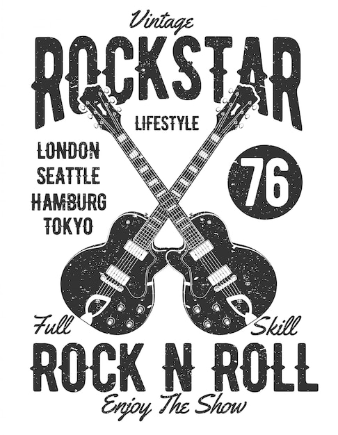 Vintage rock star-illustratieontwerp Premium Vector
