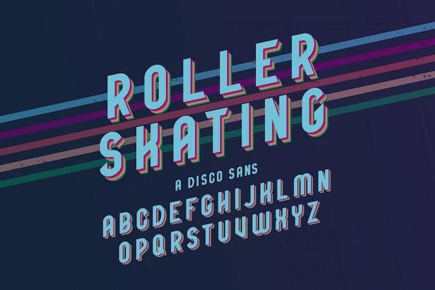 Vintage rolschaatsen lettertype sjabloon Gratis Vector