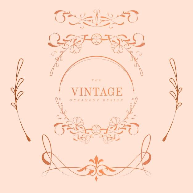 Vintage rose goud art nouveau badge vector set Gratis Vector