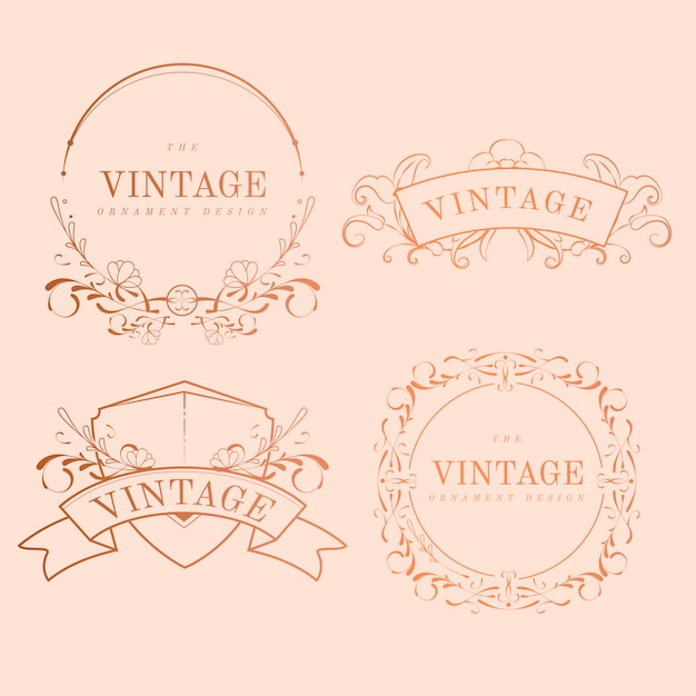 Vintage rose goud art nouveau badge vector set Gratis Vector