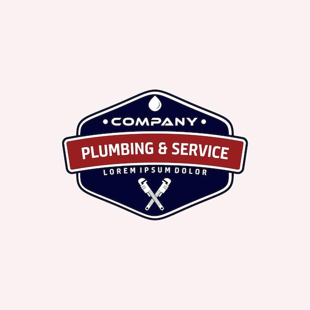 Vintage sanitair en logo-service Premium Vector