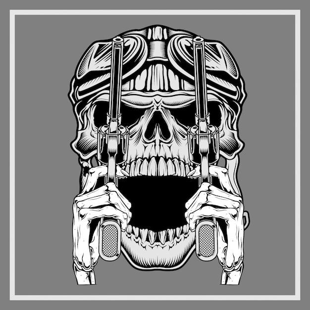 Vintage schedel die retro kanon van de helmholding draagt Premium Vector