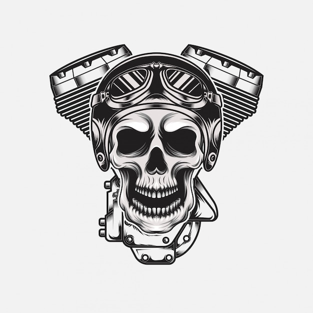 Vintage schedel helm met motorfiets machine dragen Premium Vector