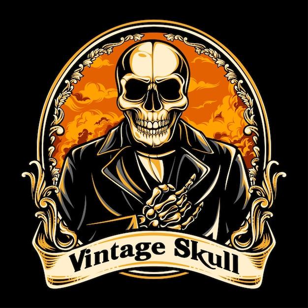 Vintage schedel Premium Vector