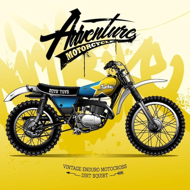 Vintage scrambler motorfiets poster Premium Vector