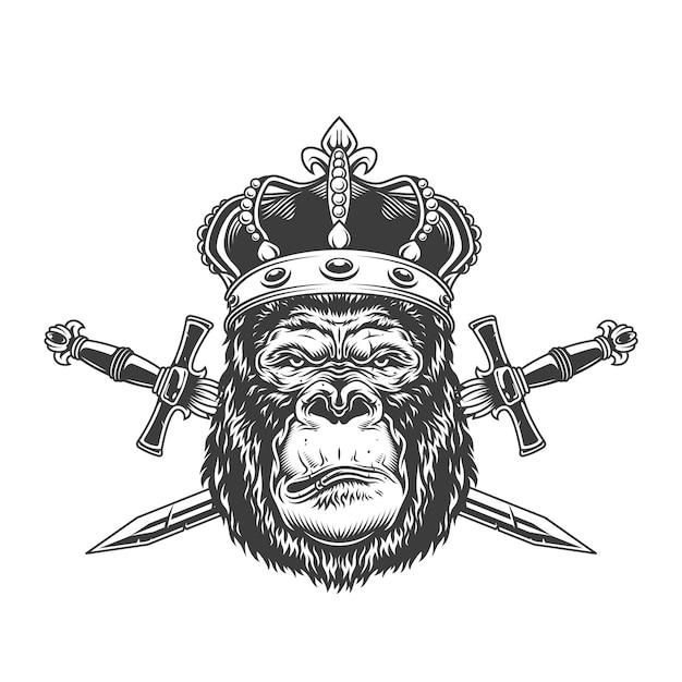 Vintage serieuze gorillahoofd in kroon Gratis Vector