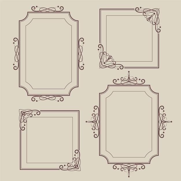 Vintage sier frame collectie concept Gratis Vector