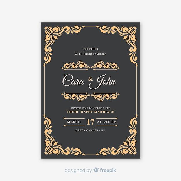 Vintage sier trouwkaart Gratis Vector