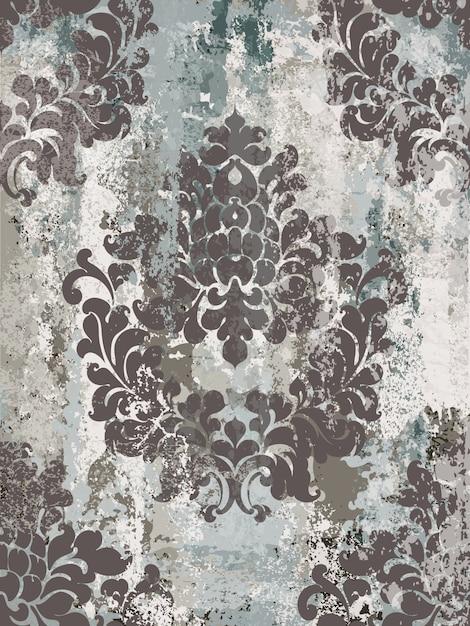 Vintage sieraad naadloos patroon. barok rococo textuur luxe ontwerp. koninklijke textieldecors. Premium Vector