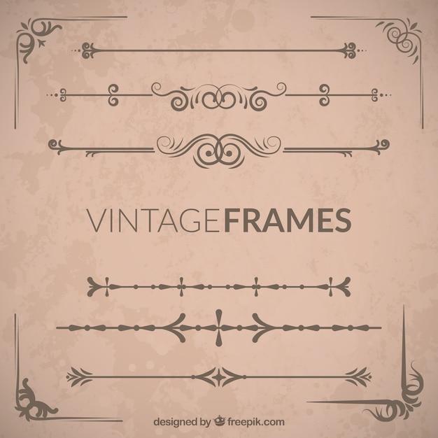 Vintage sierframe set Gratis Vector