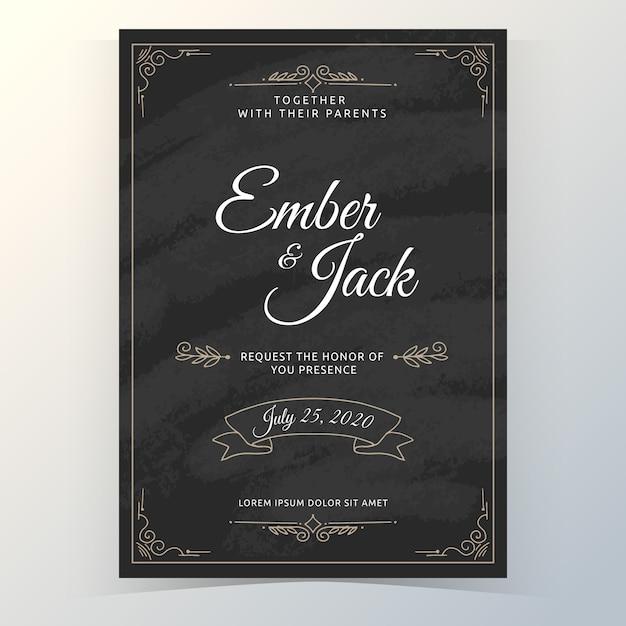 Vintage sjabloon bruiloft uitnodiging Gratis Vector