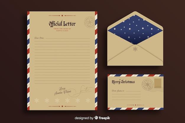 Vintage sjabloon kerst briefpapier Gratis Vector