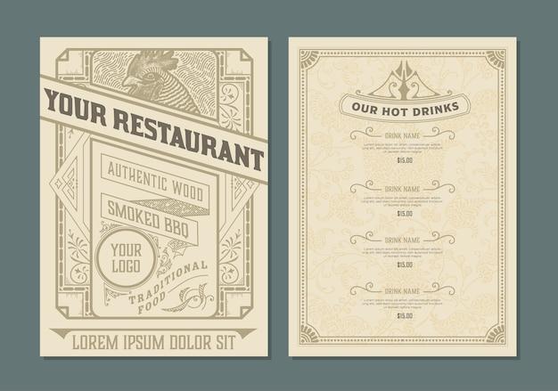 Vintage sjabloon voor het ontwerp van het restaurantmenu Premium Vector