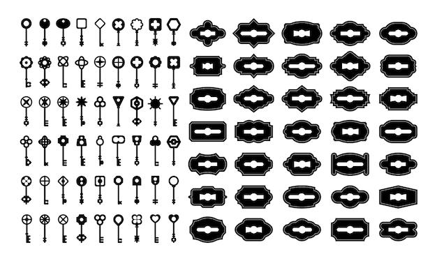 Vintage sleutels en sleutelgaten sets Gratis Vector