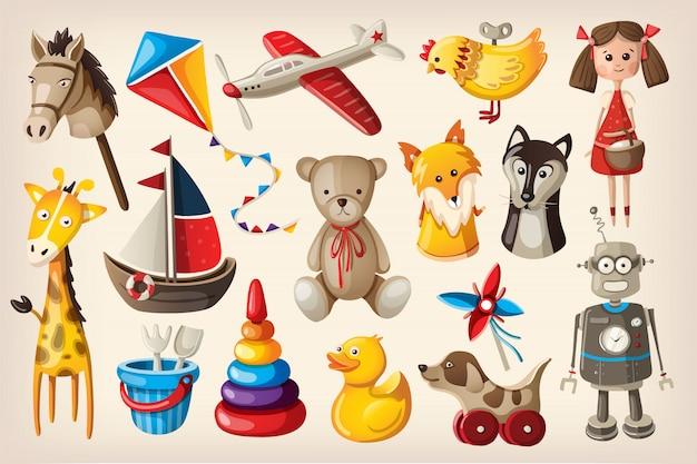Vintage speelgoed en poppen Premium Vector