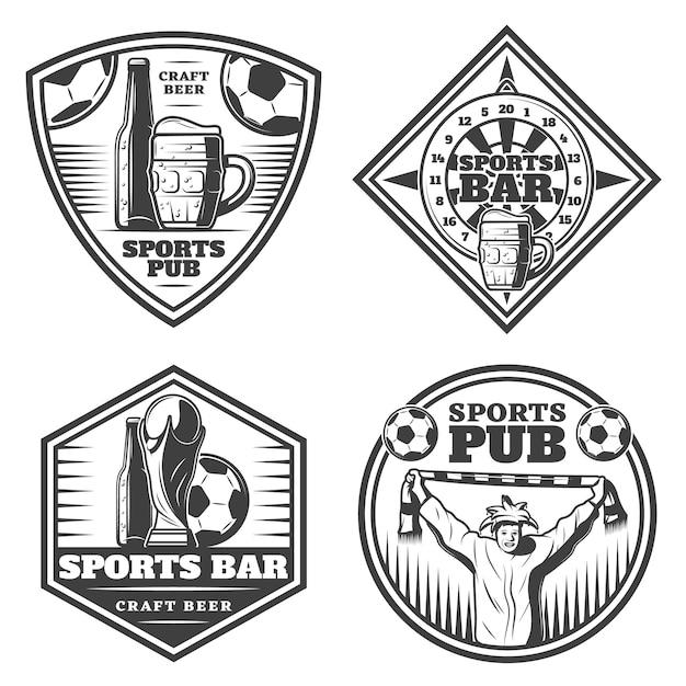 Vintage sport bar emblemen set Gratis Vector