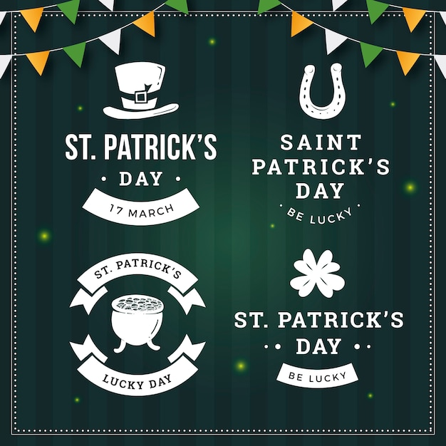 Vintage st. patrick's day badges Gratis Vector