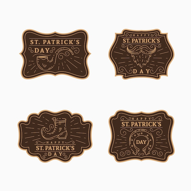 Vintage st. patrick's day labelcollectie Gratis Vector