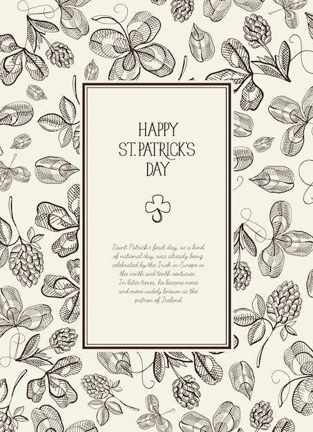 Vintage st patricks day floral sjabloon met tekst in rechthoekig frame en schets ierse klaver vectorillustratie Gratis Vector