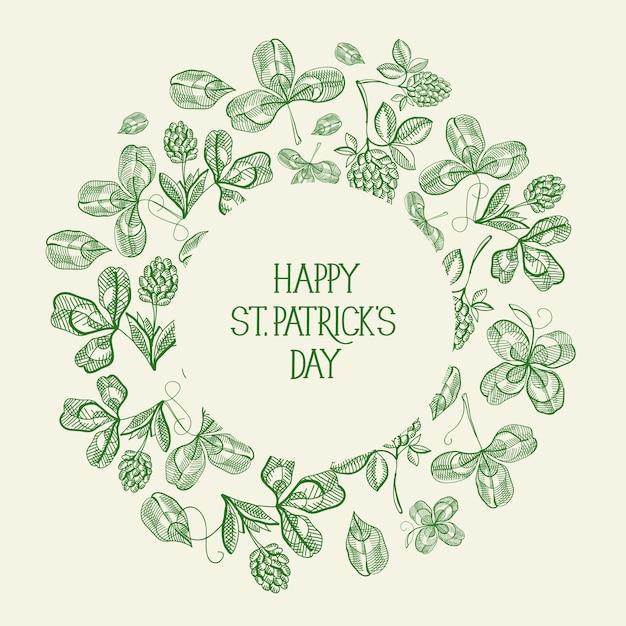 Vintage st patricks day groene wenskaart met inscriptie in ronde frame en schets ierse klaver vectorillustratie Gratis Vector
