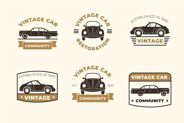 Vintage stijl auto logo collectie Gratis Vector