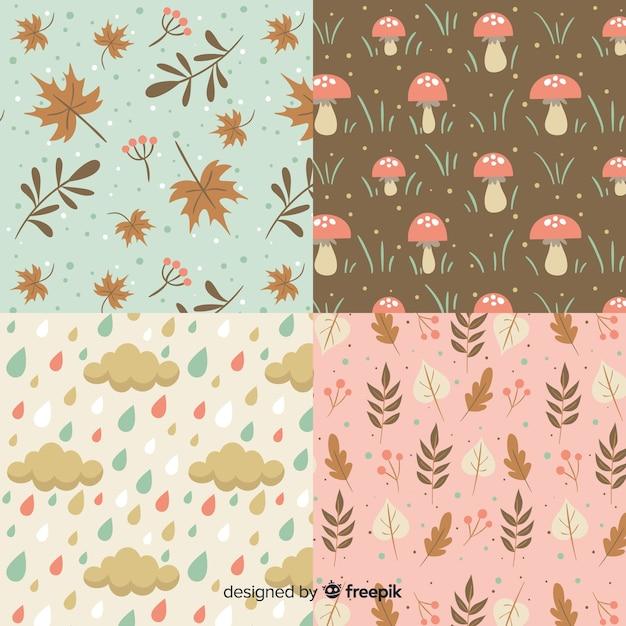 Vintage stijl herfst patroon collectie Gratis Vector