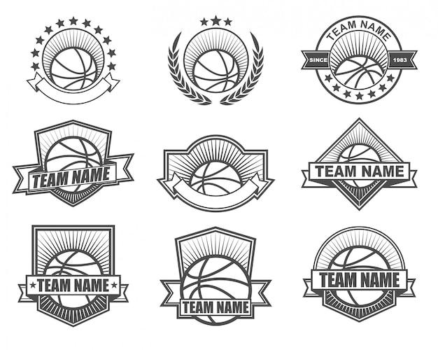 Vintage stijl logo ontwerp voor basketbalteam Premium Vector