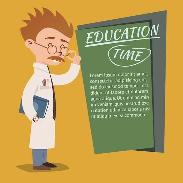 Vintage stijl onderwijs tijd posterontwerp vector met een excentrieke nerdy professor bril lesgeven op een school of college schoolbord met copyspace voor tekst Gratis Vector