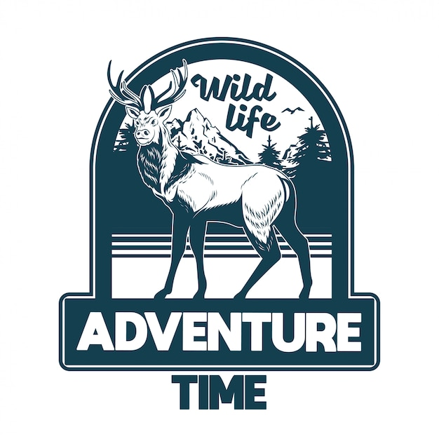 Vintage stijl print ontwerp illustratie van embleem, patch, badges met wilde dieren bosherten met grote hoorns met bomen en bergen. avontuur, reizen, kamperen, buiten, natuurlijk, concept. Premium Vector