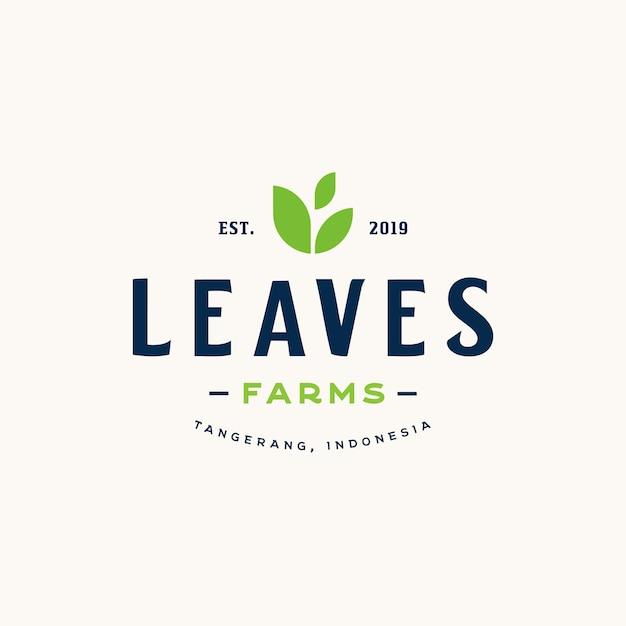Vintage stijlelementen voor labels en badges voor biologische landbouwproducten en veganistische logo Premium Vector