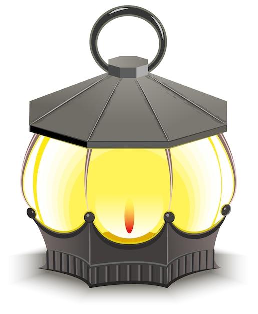Vintage straatlantaarn. gloeiende lantaarn. geïsoleerde illustratie in formaat Premium Vector
