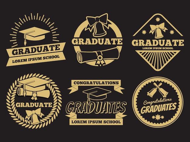 Vintage student afgestudeerde vector badges. afstuderen label set Premium Vector