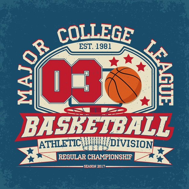 Vintage t-shirt afbeelding, grange print stempel, basketbal typografie embleem, sport logo Premium Vector