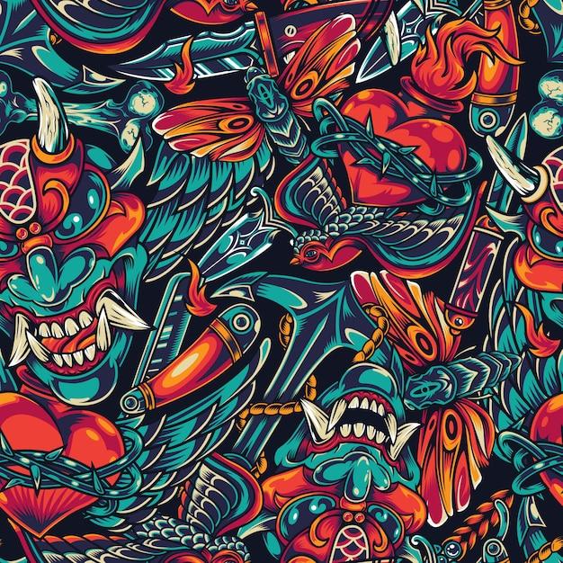 Vintage tatoeages kleurrijke naadloze patroon Gratis Vector