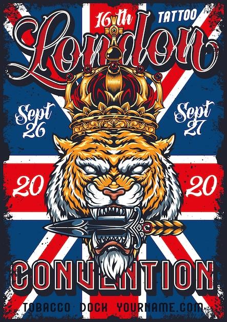 Vintage tattoo conventie in londen poster Gratis Vector