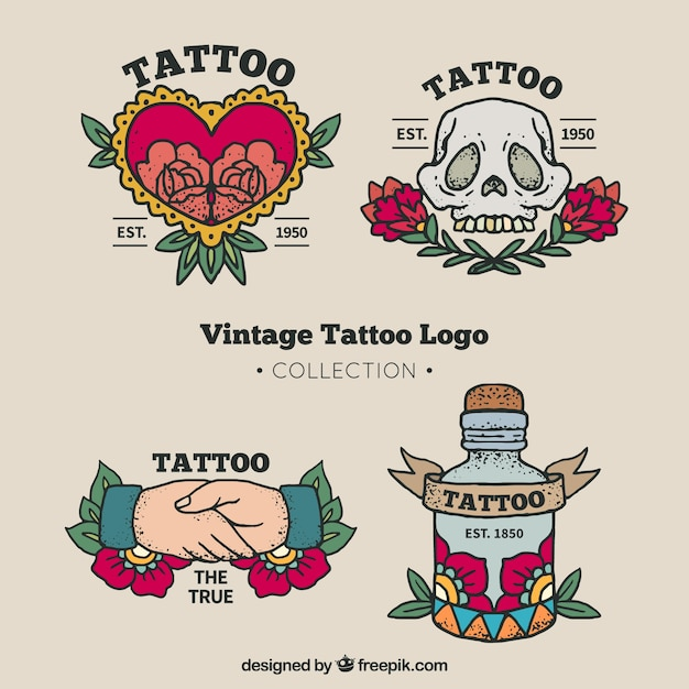 Vintage tattoo logo collectie Gratis Vector