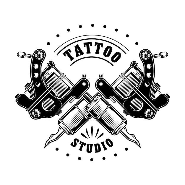 Vintage tattoo studio logo vectorillustratie. monochrome gekruiste apparatuur voor professionals Gratis Vector