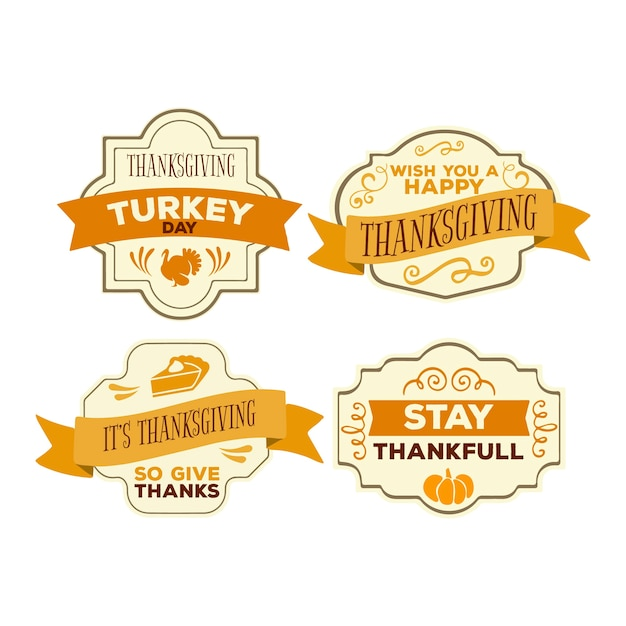Vintage thanksgiving badge collectie Gratis Vector