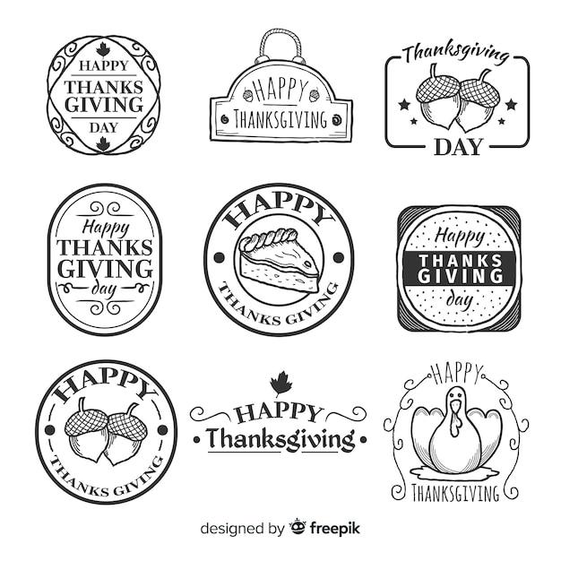 Vintage thanksgiving badge collectie Gratis Vector