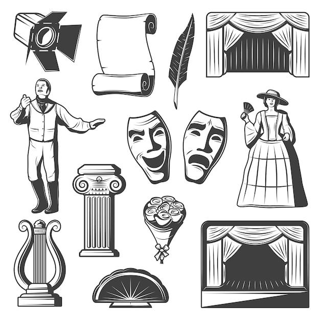 Vintage theater elements-collectie Gratis Vector