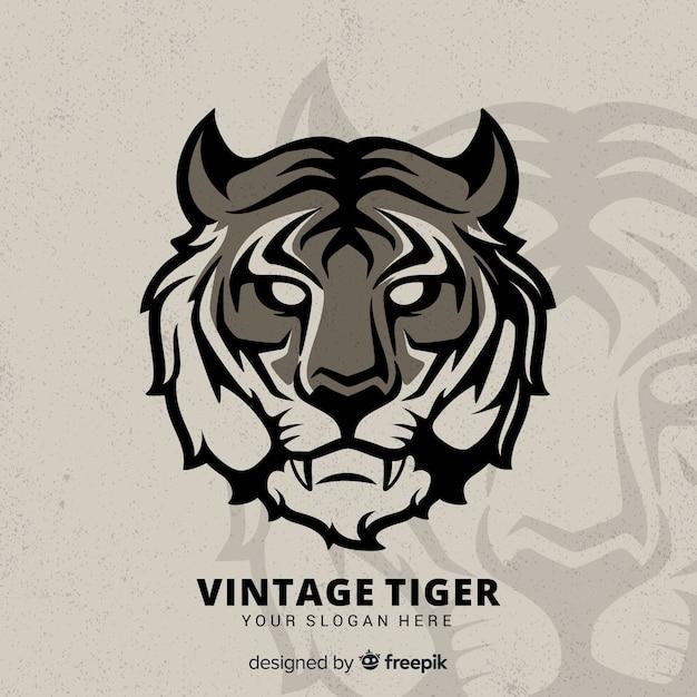Vintage tijger achtergrond Gratis Vector