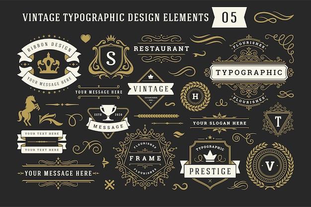 Vintage typografische decoratieve ornament ontwerpelementen geplaatst illustratie Premium Vector