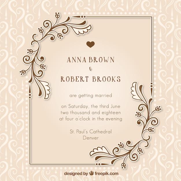 Vintage uitnodiging huwelijk met bloemen details Gratis Vector