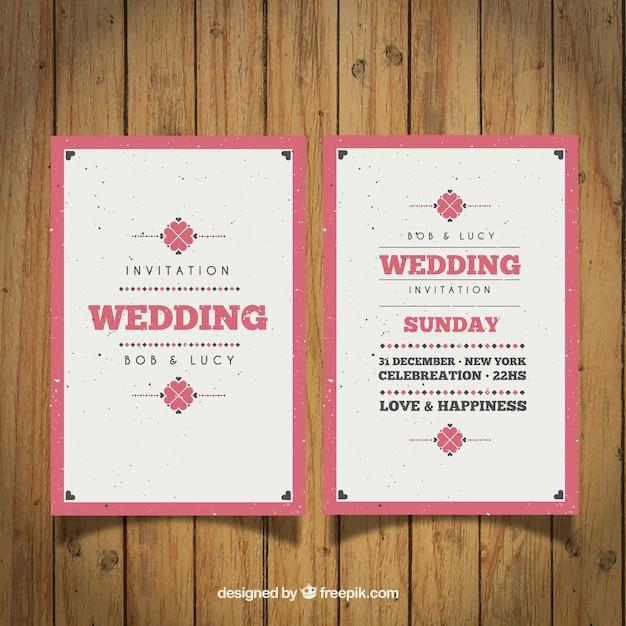 Vintage uitnodiging huwelijk met een roze rand vector
