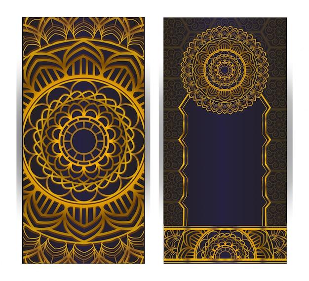 Vintage uitnodigingskaart ontwerp met mandala patroon op paarse achtergrond Premium Vector