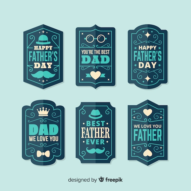 Vintage vaders dag badge collectie Gratis Vector